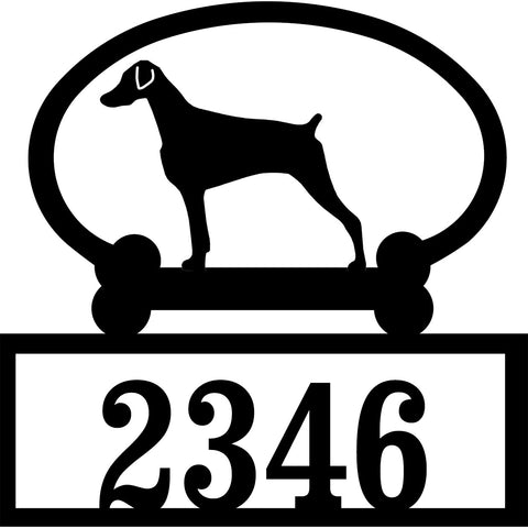Sweeney Ridge Doberman Pinscher (Uncropped) Custom House Number Sign