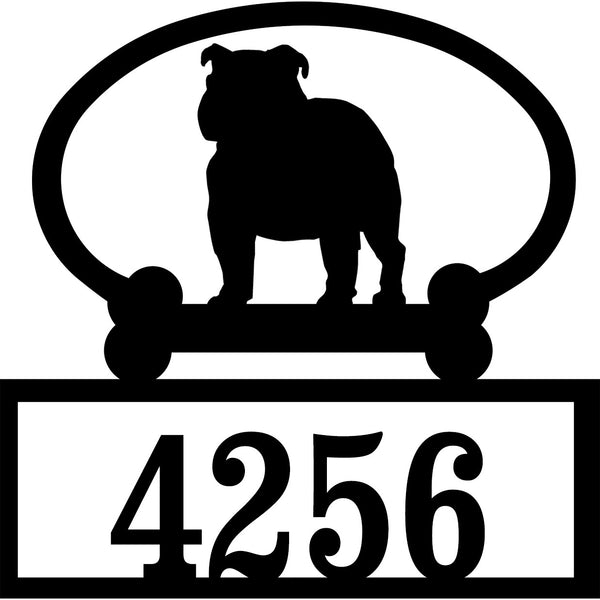 Sweeney Ridge English Bull Dog Custom House Number Sign