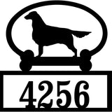 Sweeney Ridge Flat Coated Retriever Custom House Number Sign