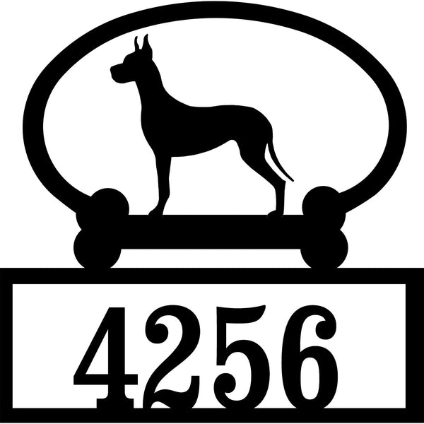 Sweeney Ridge Great Dane Custom House Number Sign