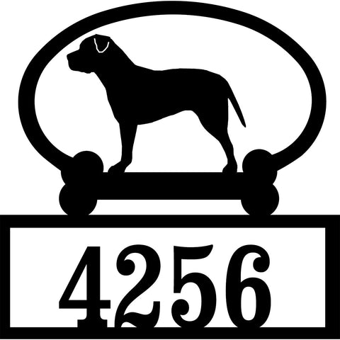 Sweeney Ridge Pit Bull Terrier (Uncropped) Custom House Number Sign