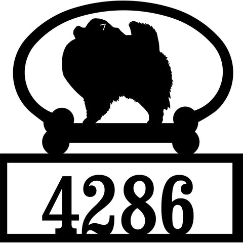 Sweeney Ridge Pomeranian Custom House Number Sign