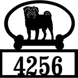 Sweeney Ridge Pug Custom House Number Sign