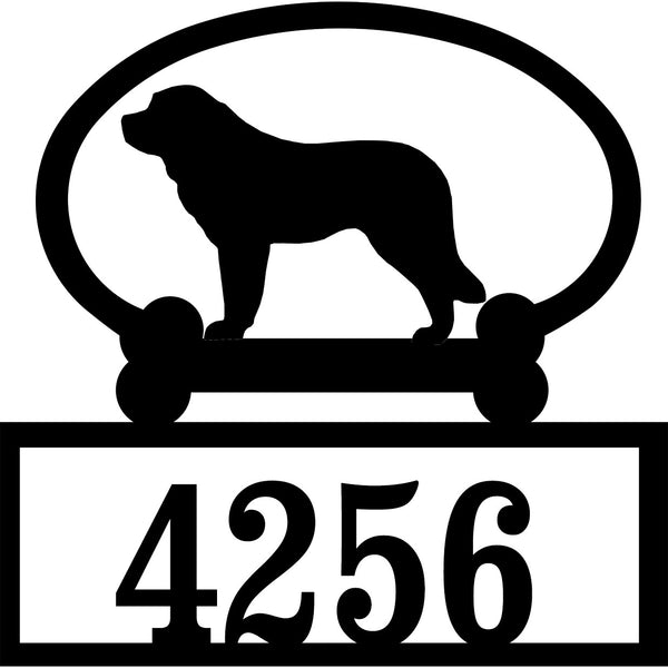 Sweeney Ridge Saint Bernard Custom House Number Sign