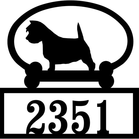 Sweeney Ridge Westie Custom House Number Sign