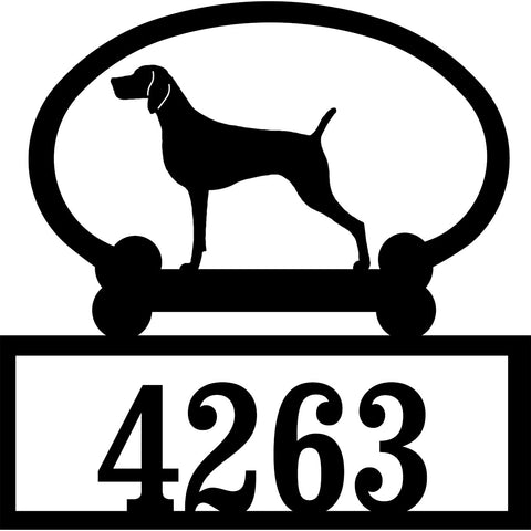 Sweeney Ridge Weimaraner Custom House Number Sign