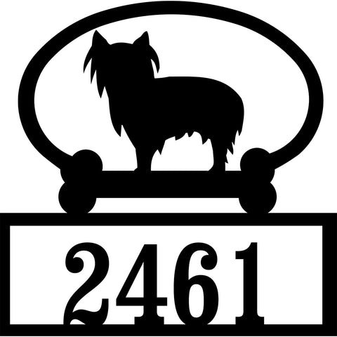 Sweeney Ridge Yorkshire Terrier (Pet Clip) Custom House Number Sign