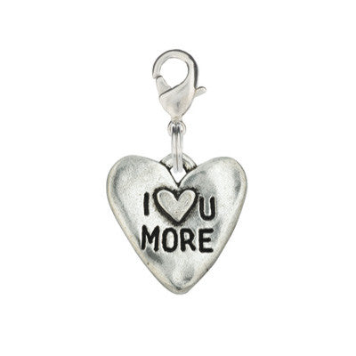 Heart Shaped Dog Charm - I Love You More