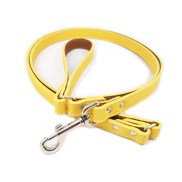 Italian Leather Dog Leash - Yellow