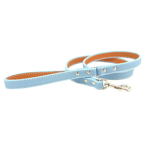 Italian Leather Dog Leash - Light Blue