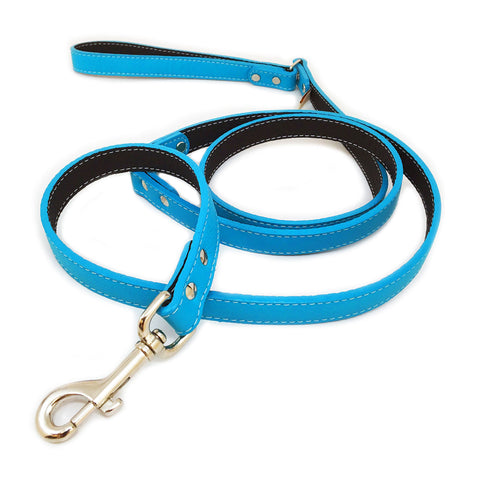 Italian Leather Dog Leash - Turquoise