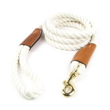 Braided Cotton and Leather Rope Dog Leash - White