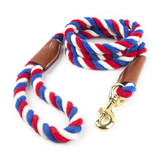 Braided Cotton and Leather Rope Dog Leash - Red, White & Blue Twist