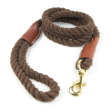 Braided Cotton and Leather Rope Dog Leash - Brown