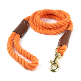 Braided Cotton and Leather Rope Dog Leash - Orange