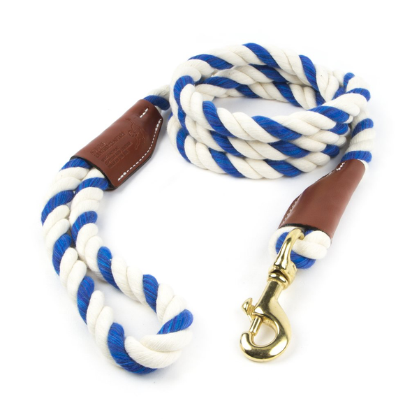 Braided Cotton and Leather Rope Dog Leash - Blue & White Twist