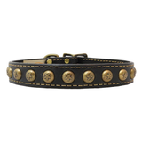 American Classic Vintage Style Leather Dog Collar - Embossed Circle Stars (Black)