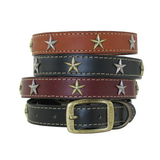 American Classic Vintage Style Leather Dog Collar - Embossed Circle Stars (Tan)