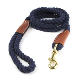 Braided Cotton and Leather Rope Dog Leash - Navy Blue