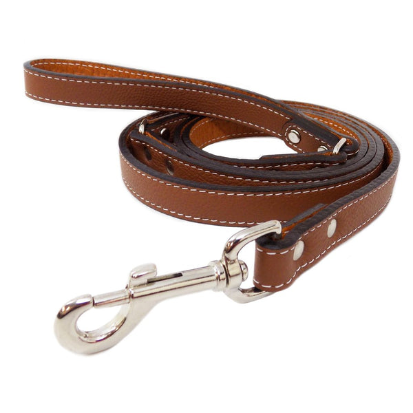 Italian Leather Dog Leash - Brown