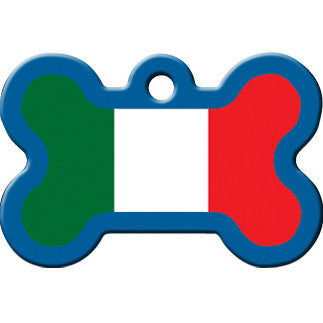 Italian Flag Large Dog Tag - Bone