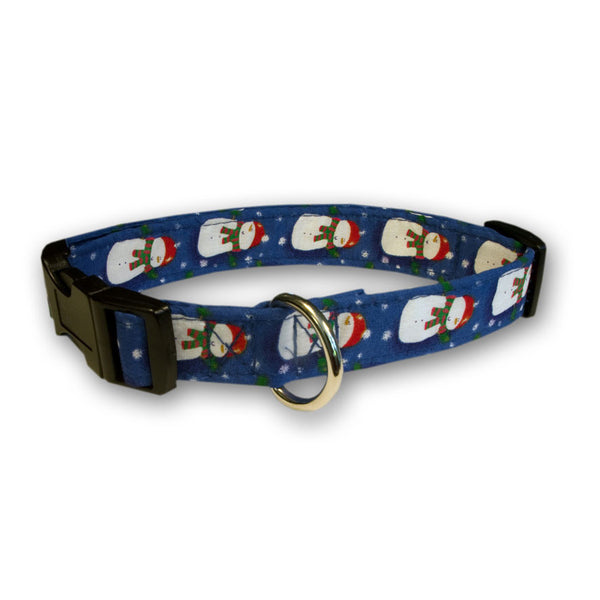 Elmo's Closet Jolly Snowmen Dog Collar - Blue