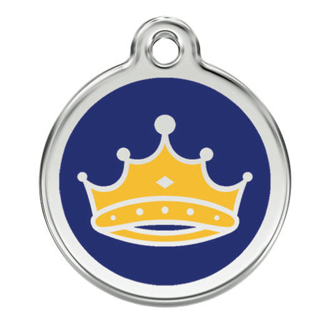 Red Dingo Stainless Steel & Enamel Kings Crown Dog ID Tag
