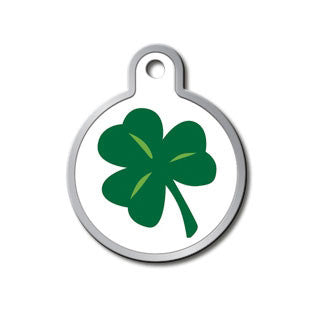 Shamrock Plated & Polished Raised Edge Brass Dog Tag - Circle (Large)