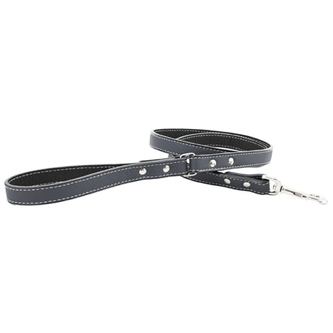Italian Leather Dog Leash - Black