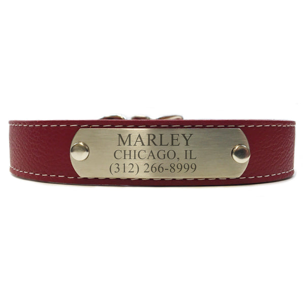 Italian Leather Dog Collar With Engraved Nameplate - Dark Red