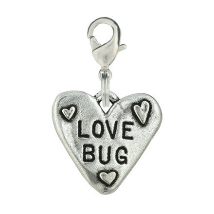Heart Shaped Hand Stamped Dog Charm - Love Bug Heart