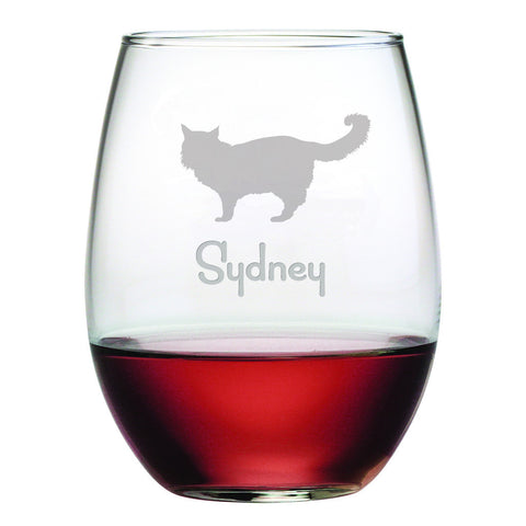 Personalized Cat Breed Stemless Wine Glasses (Set Of Four) - Maine Coon Cat
