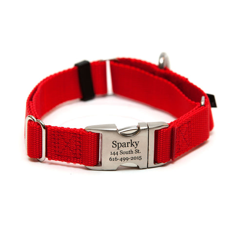 Rita Bean Engraved Buckle Personalized Martingale Style Dog Collar - Nylon Webbing (Red)