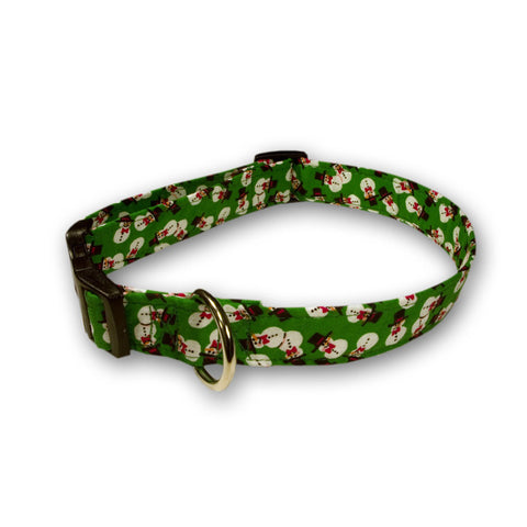 Elmo's Closet Mini Snowmen Dog Collar - Green