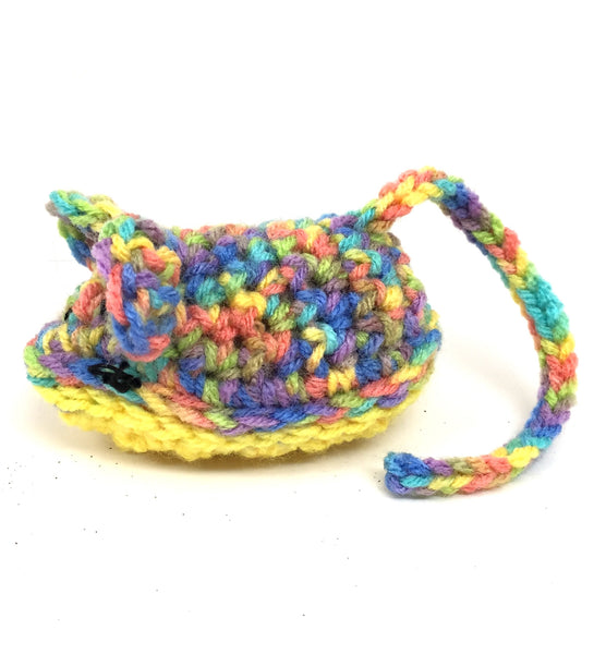 Crochet Mouse with Cat Nip Cat Toy - Yellow/Purple