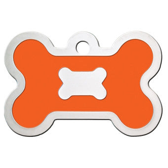 Bone Shaped Epoxy Filled Chrome Dog Tag - Orange (Large)