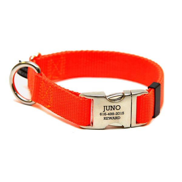 Rita Bean Engraved Buckle Personalized Dog Collar - Nylon Webbing (Neon Orange)