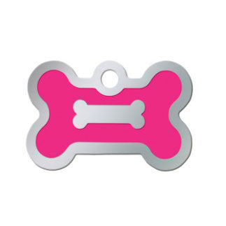 Bone Shaped Epoxy Filled Chrome Dog Tag - Neon Pink (Small)
