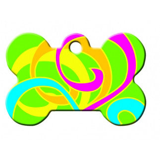 Neon Swirls Large Dog Tag - Bone