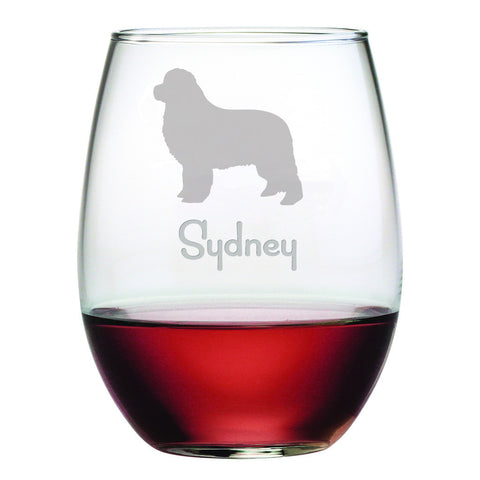 Personalized Dog Breed Stemless Wine Glasses (Set Of Four) - Newfoundland