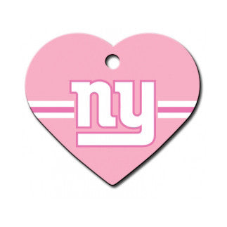 New York Giants NFL Custom Engraved Dog ID Tag - Pink Heart
