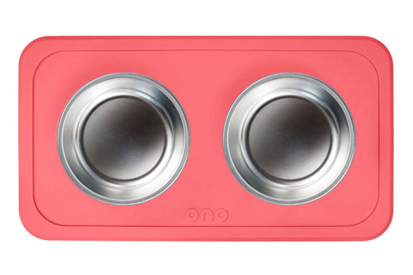 The Good Bowl Double Pet Feeder - Coral