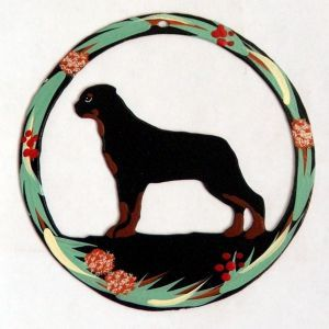 Hand Painted Dog Christmas Ornament - Rottweiler