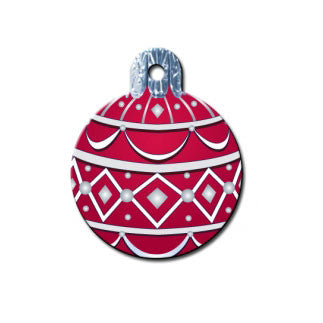 Christmas Ornament Dog ID Tag - Round