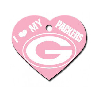 Pink Green Bay Packers Dog Tag