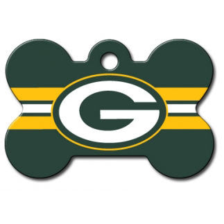 Green Bay Packers NFL Custom Engraved Dog ID Tag - Bone