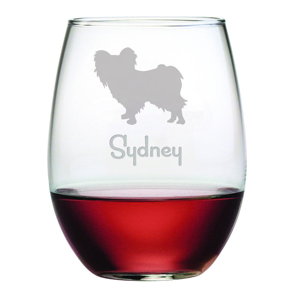 Personalized Dog Breed Stemless Wine Glasses (Set Of Four) - Papillon