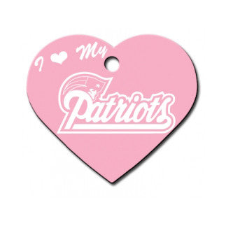 New England Patriots NFL Custom Engraved Dog ID Tag - Pink Heart
