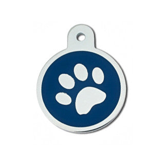 Round Pawprint Epoxy Filled Chrome Dog Tag - Blue (Large)