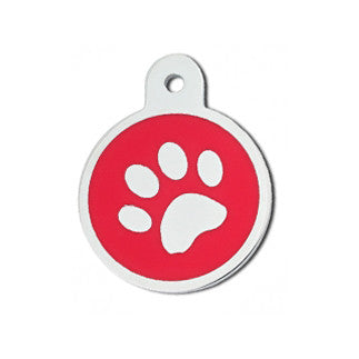 Round Pawprint Epoxy Filled Chrome Dog Tag - Red (Large)